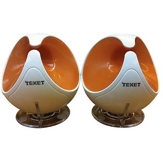 Texet G-18 Plug  Play Portable USB Speakers in White  Orange
