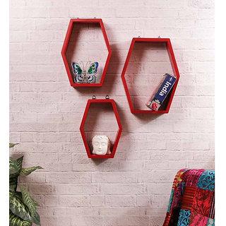 Onlineshoppee Set Of 3 Hexagon shape Designer Storage Shelves - Red