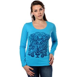 Mavango Round Neck Solid Blue Womens Tshirt