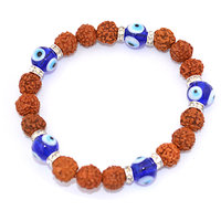 Divya Feng Shui Five Mukhi Rudraksh With Turkish Evil Eye Bracelet