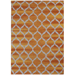 Champo Carpets Orange White 2ft x 4ft Cotton Durrie Rugs