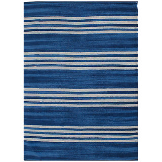 Champo Carpets Blue White Stripes 2ft x 4ft Cotton Durrie Rugs