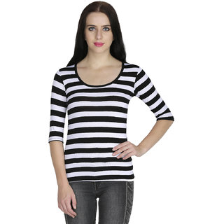 Svt Ada Trendy Collections Lycra White Stripped Womens Top