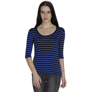 Svt Ada Collections Lycra Blue Stripped Womens Top