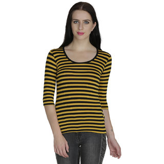 Svt Ada Collections Lycra Mustard Stripped Womens Top