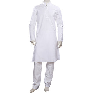 Long Sleeved White Cotton Kurta Pyjama for Weddings