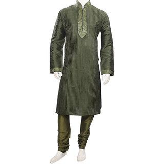 Elegant Dark Olive Green Silk Kurta Pajama Set for Men