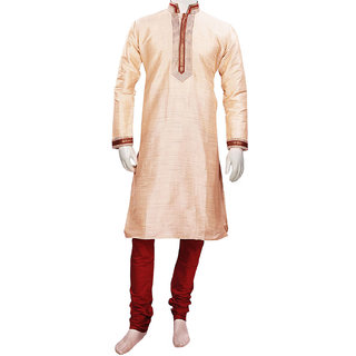 Traditional Designer Beige Silk Kurta Pajama Set for Parties