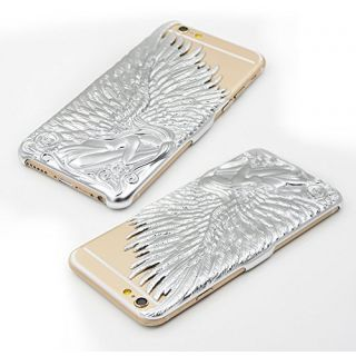 Love Crazy Angel Wings Designer 3D Hard Back Case For Apple iPhone 6 Moon Silver