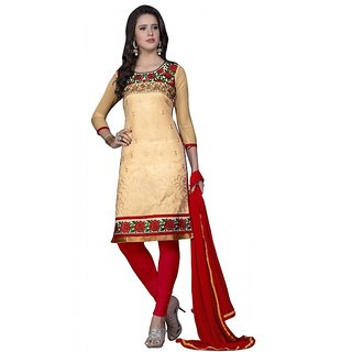 Shree Bhavyu creation Red and Chikoo colored un-stitched cotton dress material
