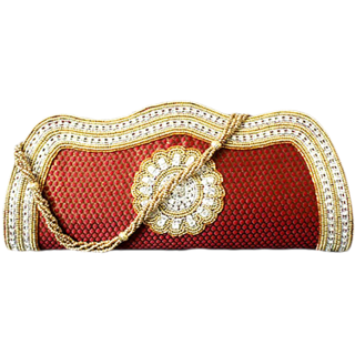 Maroon Diamond Clutch Bag