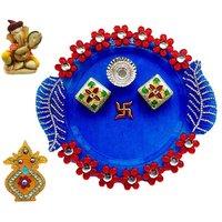 Unique Arts Blue Acrylic Pooja Thali With Ganesha And Kalash Roli Box