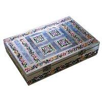 Silver Minakari Handicraft Diwali Pooja Box/ Pooja Thali With 21 Pooja Samagri