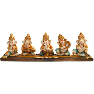 Madg Religious Idols of Ganesha playing Musical Instruments Showpiece