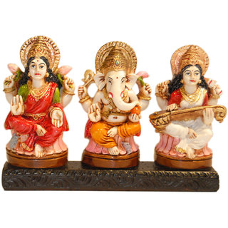 Madg Religious Idols of Lakshmi Ganesha  Saraswati, best choice for car decor Showpiece