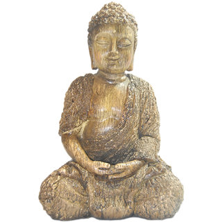 Madg Religious Idols of Gautam Buddha, Wooden Finish Showpiece