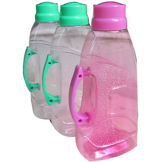 Assorted Colours Set Of 3 Pcs. Stylish Bottles With Handle