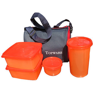 Kitchen Kraft Lunch Box With Insulated Bag (Set of 4 Pcs)