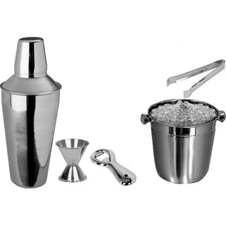 5 pcs Beginners Bar Set - Ice bucket small bottle opener regular cocktail shaker peg measure ice tong