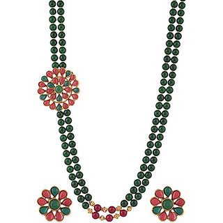 Green onyx with temple design two layer side mop Necklace set Jewelry 5280
