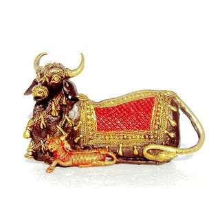 Dokra Art Decorative Colored Brass Metal Cow And Calf (21 cm x 7 cm x 13 cm)