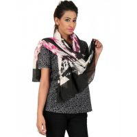 Anuze Fashions Pink And Black Printed Scarf For Womens And Girls