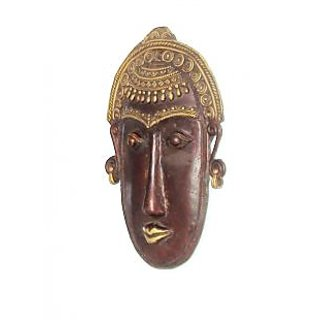 Dokra Art Decorative Colored Brass Metal Good Luck Mask (24 cm x 15.5 cm)
