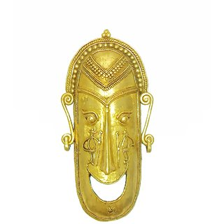 Dokra Art Decorative Brass Metal Good Luck Mask (28 cm x 13.5 cm)