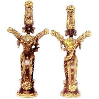 Dokra Art Decorative Coloured Brass Metal Jhitku Mitki Tribal Love Pair