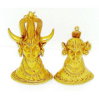 Dokra Art Decorative Brass Metal Tribal Head Pair (10.5 cm x 20.5 cm)