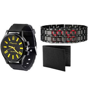Mavrick 1 Watch + Metal Led Watch + Black Leather Wallet