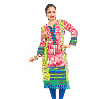 VALAS Nice WomenS Cotton Printed Long Pink Kurti
