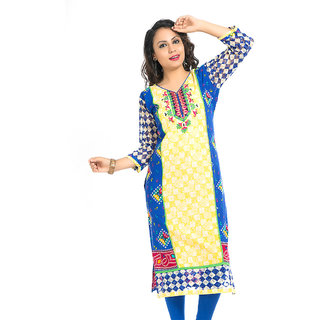 VALAS Pulchritudinous WomenS Cotton Printed Long Blue Kurti