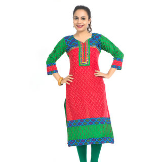 VALAS Refined WomenS Cotton Printed Long Red Kurti