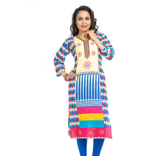 VALAS Splendid WomenS Cotton Printed Long Blue Kurti