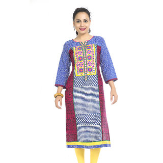 VALAS Swell WomenS Cotton Printed Long Blue Kurti