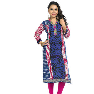 VALAS Upscale WomenS Cotton Printed Long Blue Kurti