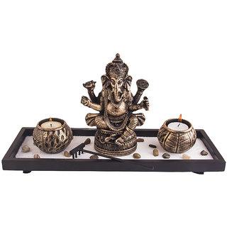 indikala Ganesha with Two Round Tea Light Holders (IK-01-331)