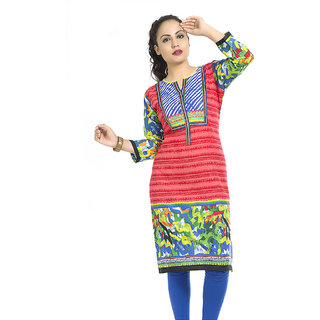 VALAS Tantalizing WomenS Cotton Printed Long Red Kurti