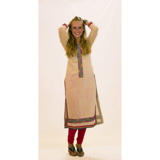 kurti in khadi cotton with embroidered yolk  front lace
