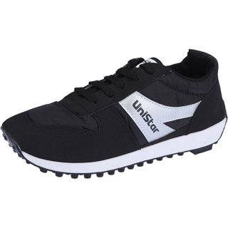 Unistar Mens Black Lace-Up Running Shoes