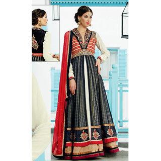 Wholetex Black and Off White Banarasi Silk Anarkali Suit