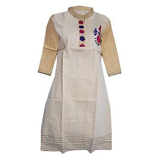 Srinika cream kurti with 1 side pink-indigo print