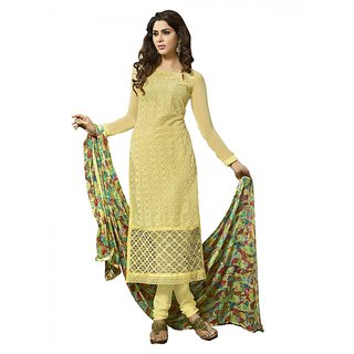 Sareemall Yellow Embroidered Dress Material Suit with Matching Dupatta 2ZHR54006