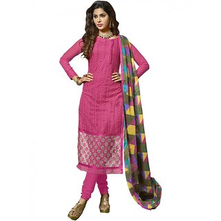 Sareemall Pink Embroidered Dress Material Suit with Matching Dupatta 2ZHR54007