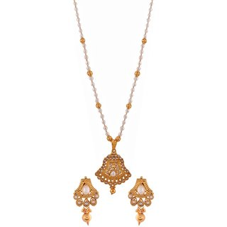 Gold plated temple design pendant earring set with real pearl chain Jewelry 5447
