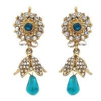 Kriaa Kundan Blue Austrian Stone Drop Gold Finish Jhumki Earrings