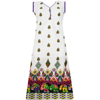 Srinika white base with purple hem printed kurti