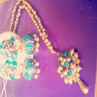 Terracotta necklace set wit jumkas