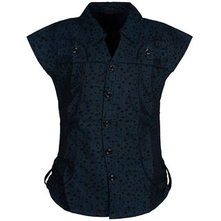 Jazzup Blue Cotton Printed Stylish Top for Girl